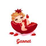 Sweet fairy with garnet. Vector illustration. Flat style Stock Photos