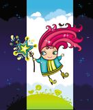 Sweet fairy and glittering star. stock illustration