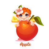 Sweet fairy with red apple. Vector illustration. Flat style Royalty Free Stock Photography