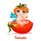 Sweet fairy with red tomato. Vector illustration. Flat style Royalty Free Stock Image