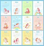Sweet cute magic unicorn 2019 calendar for kids. Fairy unicorns with rainbow cartoon vector template for calendars. Sweet fairytale girl dream cute magic royalty free illustration