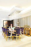 The sweet family dinning room. With modern styled dinning table and wing chairs Stock Photos