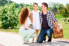 Sweet family on the way to picnic Stock Image