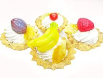 Sweet fancycakes with fruits Royalty Free Stock Images