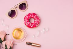 Sweet fashion lady accessories set. Top view. royalty free stock images