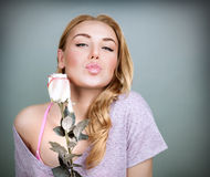 Sweet female with rose Royalty Free Stock Images