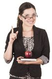 Sweet female teacher holding red apple Stock Photos