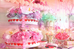 Sweet festive table on the day of birth Stock Image