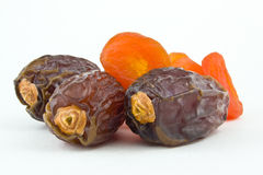 sweet figs and dried apricots on white backgroun Stock Photography