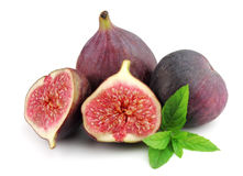 Sweet figs with fresh mint Stock Photo