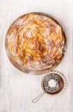 Sweet Filo pastry cake  and  Sifter Spoon Stock Photography