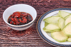 Sweet fish sauce and dried shrimp with mangoes. Stock Image