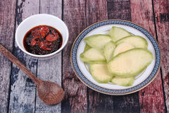 Sweet fish sauce and dried shrimp with mangoes. Royalty Free Stock Photography
