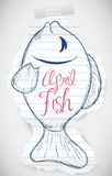 Sweet Fish Sketch for April Fools' Prank, Vector Illustration Royalty Free Stock Photo