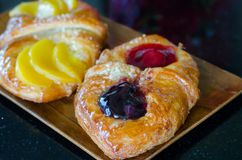 Sweet flaky pastry with fruits Royalty Free Stock Image