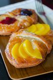 Sweet flaky pastry with fruits Royalty Free Stock Images