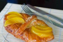 Sweet flaky pastry with mango royalty free stock photos