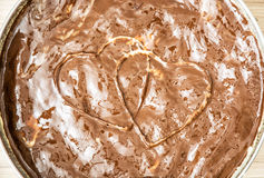 Free Sweet Flan Case With Chocolate Cream Hearts, Valentine`s Day Royalty Free Stock Photography - 80718557
