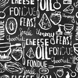 Sweet fondue seamless pattern on chalk background. Traditional swiss food. Can be used for menu, banners, invitations. Royalty Free Stock Photography