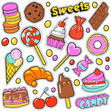 Sweet Food Badges Set with Patches Royalty Free Stock Images
