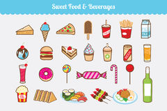 Sweet Food and Beverages Vector Set. Vector set of any kind of sweet food and beverages also some fast food, candy and ice cream too Royalty Free Stock Photos