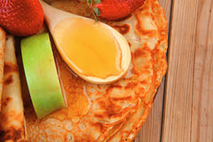 Sweet food : big thin pancake Royalty Free Stock Photography