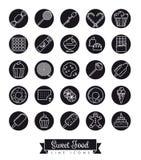 Sweet Food black round line icon set stock illustration