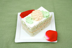 Sweet food: cake with whipped cream Royalty Free Stock Image