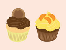 Sweet food chocolate creamy cupcake illustration. Sweet food chocolate creamy cupcake set isolated illustration Stock Photography