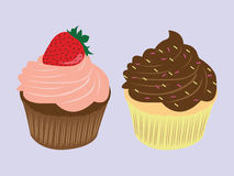 Sweet food chocolate creamy cupcake illustration. Sweet food chocolate creamy cupcake set isolated illustration Royalty Free Stock Photo