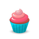 Sweet food chocolate creamy cupcake set isolated vector illustration Royalty Free Stock Photo