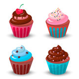Sweet food chocolate creamy cupcake set  vector illustration Stock Photography