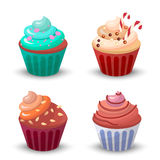 Sweet food chocolate creamy cupcake set  vector illustration Stock Image