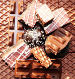 Sweet food chocolate dessert background Stock Photos