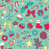 Sweet food and Christmas symbols seamless pattern Royalty Free Stock Photos