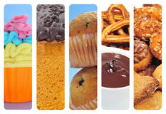 Sweet food collage. A collage of of different pastries and sweet food, such as cupcakes, panettone, churros con chocolate and panellets Stock Photography