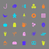 Sweet food color icons on gray background Royalty Free Stock Photos