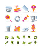 Sweet food and confectionery icons Stock Photo