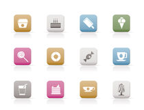 Sweet food and confectionery icons Royalty Free Stock Images