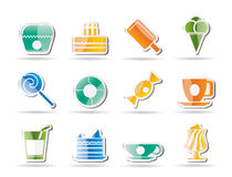 Sweet food and confectionery icons Royalty Free Stock Image