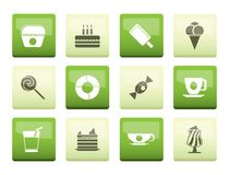 Sweet food and confectionery icons over green background. Vector icon set royalty free illustration