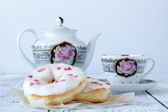 Sweet food and cup of coffee, tea drink. Breakfast, dessert with cake, snack Royalty Free Stock Photography