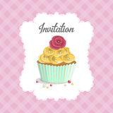 Sweet food dessert delicious cupcake poster on background in cage. Invitation for a birthday, wedding, Valentine's Day, party Stock Photo