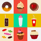Sweet Food. Fast Food. Cake, Donut, Candies, Chocolate, Muffin. Stock Photo