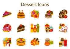 Sweet food flat icons set. Dessert collection Stock Images