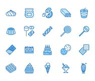 Sweet food flat line icons set. Pastry vector illustrations lollipop, chocolate bar, milkshake, cookie, birthday cake stock illustration