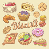 Sweet Food Hand Drawn Doodle with Cupcake, Croissant and Macaroon. Bakery Cakes Set Stock Photography