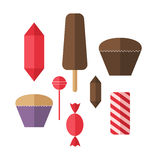 Sweet food. Icon set. Candy. Isolated objects on white background. Vector illustration (EPS 10 Stock Images