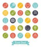 Sweet Food round line icon set vector illustration