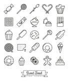 Sweet Food line icon set royalty free illustration